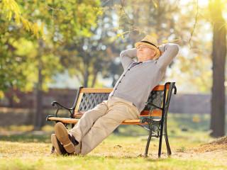starý muž lavička park šťastný senior muž