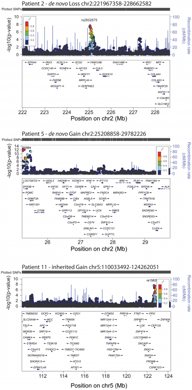 Genome-wide significant association of GWAS loci for height distribution in the 3 CNVs.