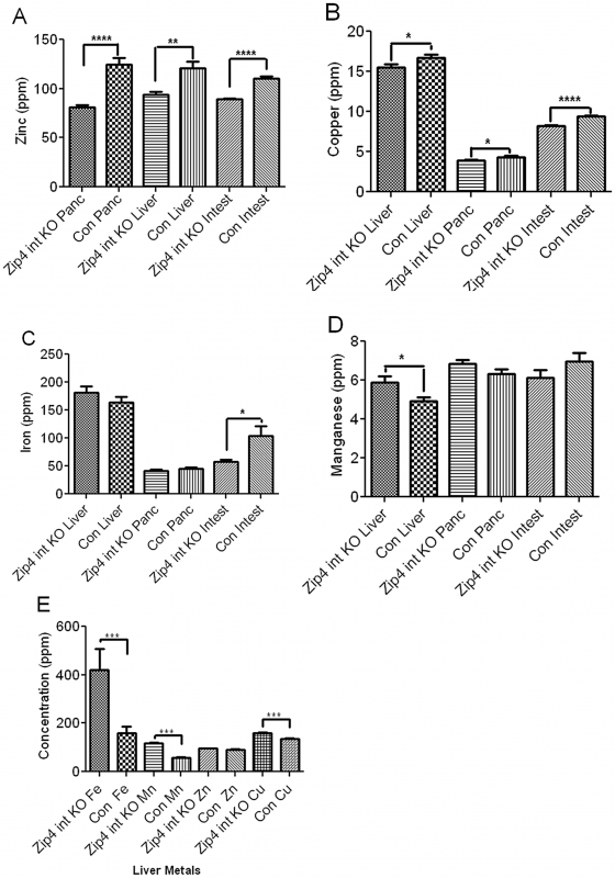ICP–MS quantification of zinc, iron, manganese, and copper in the small intestine, liver, and pancreas of recently weaned mice after intestine-specific deletion of the <i>Zip4</i> gene.
