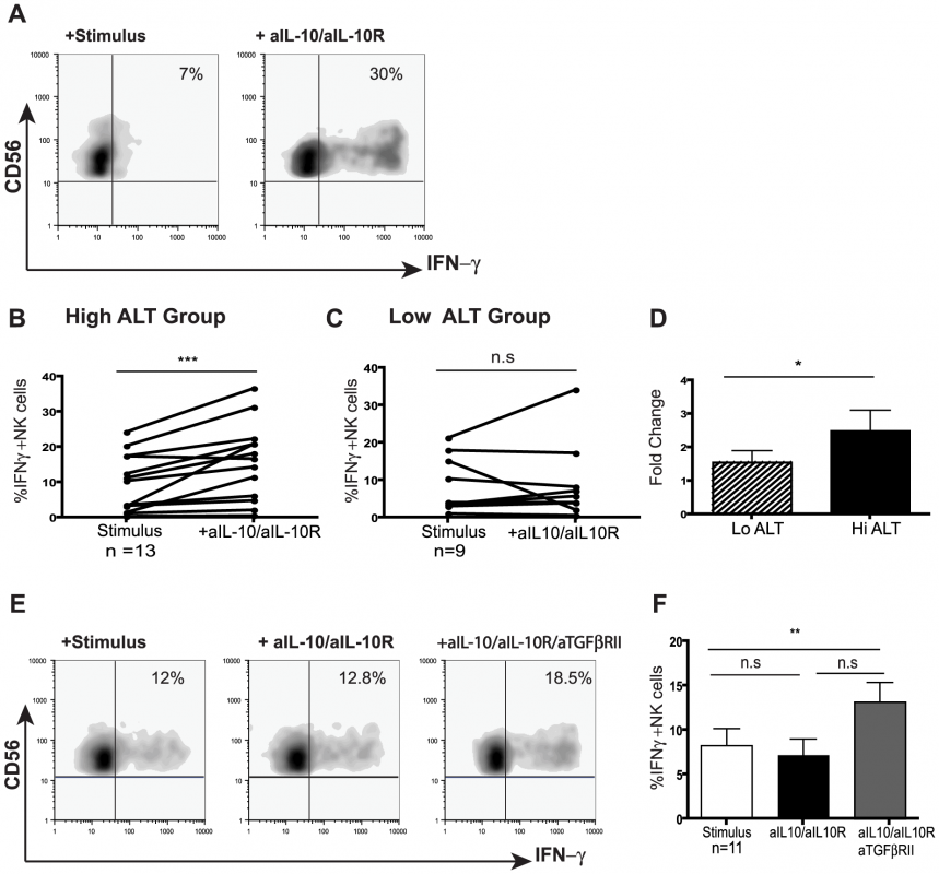 IL-10 blockade alone or in combination with TGFβRII blocking restores NK cell IFN-γ production.