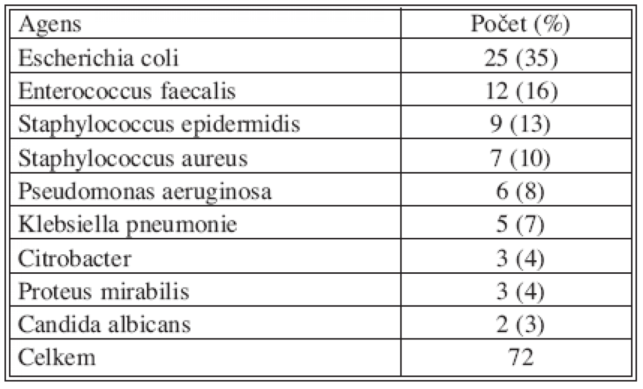 Výsledky mikrobiologického vyšetření infekce chirurgického místa po operaci pro NPB (n = 48) Tab. 2. Microbiological examination findings in the surgical site infections following the acute abdomen procedures (n = 48)