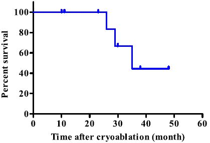 Kaplan - Meier survival curve analysis of the entire group. There was no local recurrence after cryoablation and the median survival was 35 months