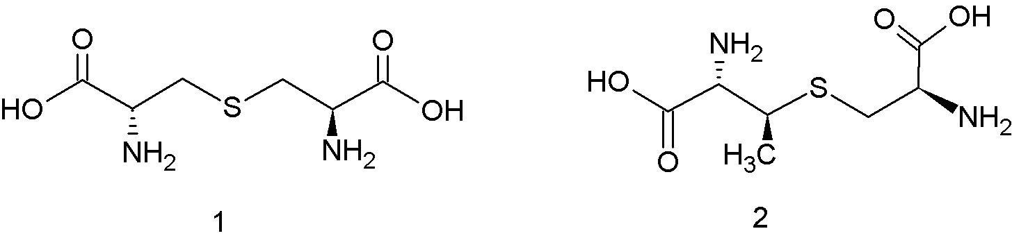 Štruktúra lantionínu – 1, ß-metyllantionínu – 2