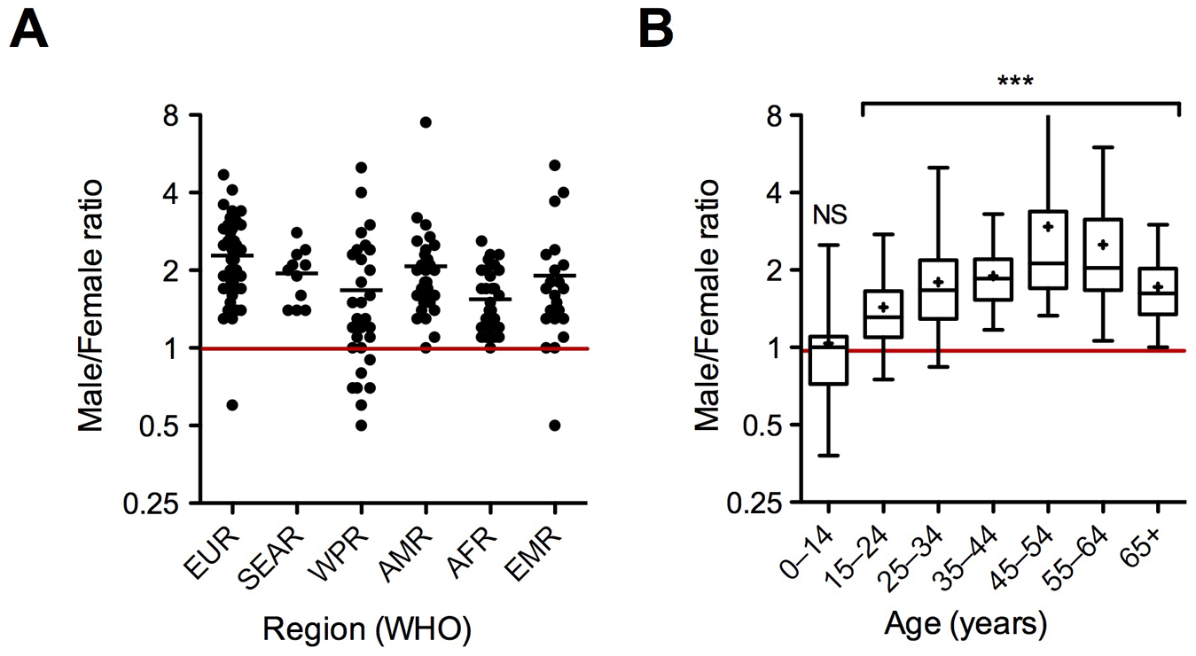 Regional (A) and age (B) distribution of the male/female ratio for new smear-positive TB cases in 2007.