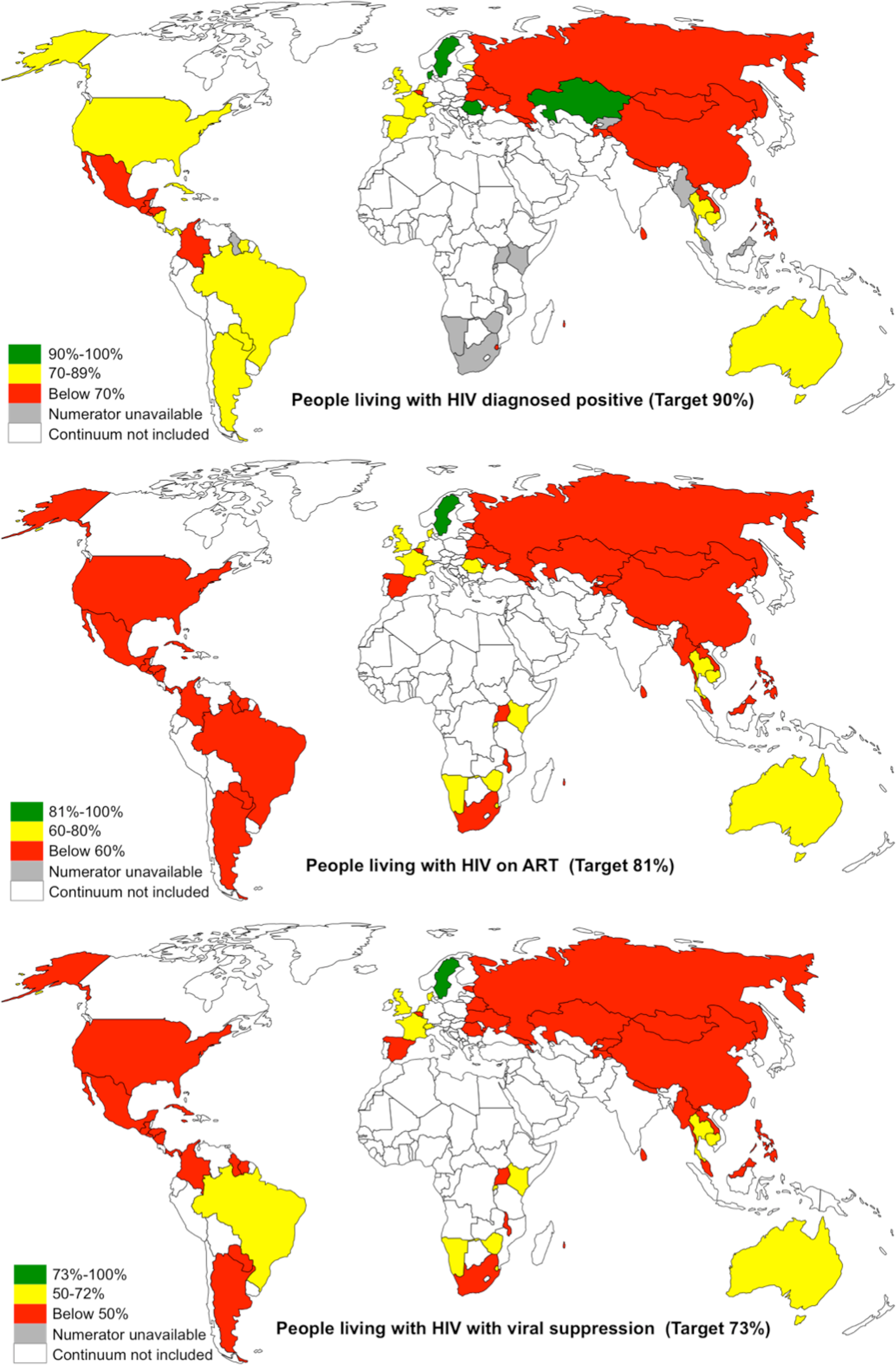 Maps showing the proportion of PLHIV diagnosed positive, on ART, and with viral suppression in 53 countries.