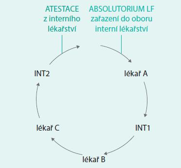 Schéma 3. Časová posloupnost postgraduálního vzdělávání na Interní klinice FN Motol