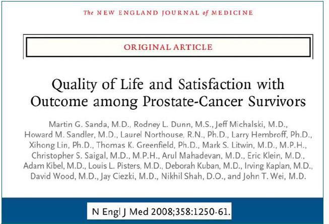 Citace publikace srovnávající výsledky, spokojenost a kvalitu života jednotlivých léčebných modalit.