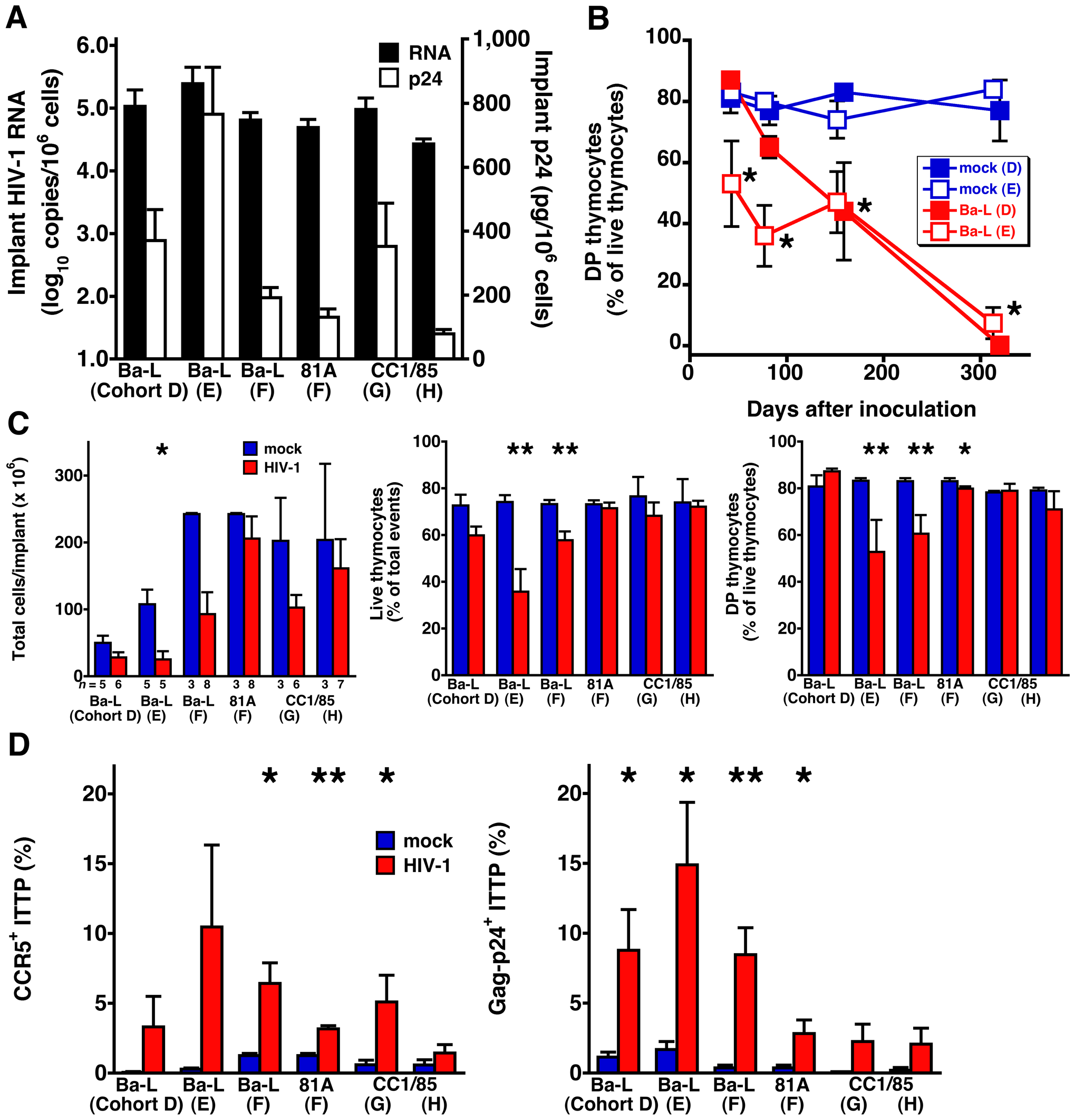 Thymocyte depletion and CCR5 induction on ITTP in six SCID-hu Thy/Liv mouse cohorts infected with R5 HIV Ba-L, 81A, or CC1/85.