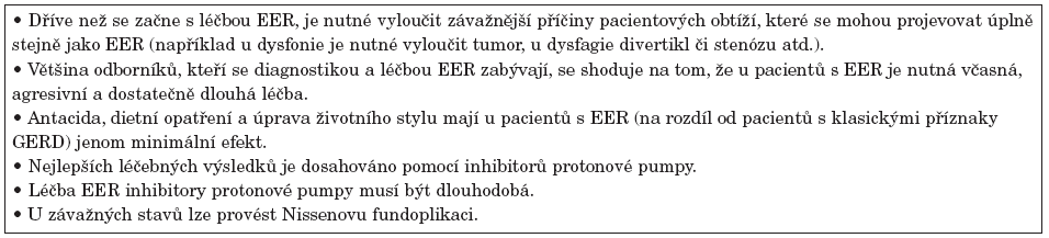 Základní léčebná opatření u pacientů s extraezofageálním refluxem.