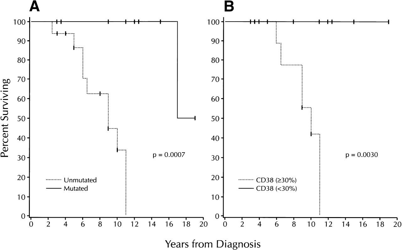 Přežití nemocných s chronickou lymaftickou leukemií v rocích v závislosti na mutačním stavu (A) a expresi CD38 (B). Podle: Damle et al., 1999 (22).
