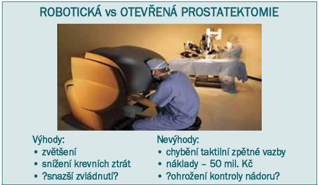 Nevýhody a výhody roboticky asistované radikální prostatektomie.