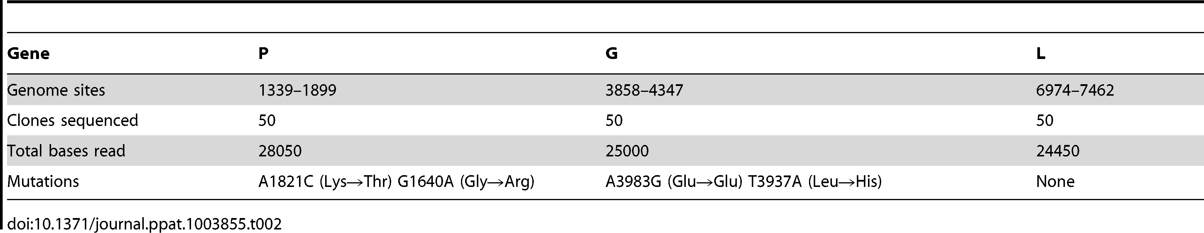 Molecular clone sequencing of VSV from BHK-21 cells.