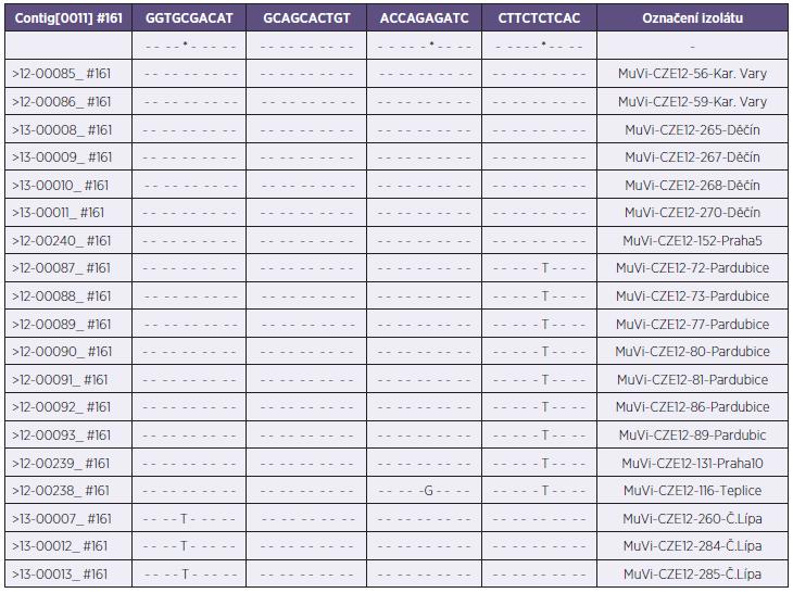Vzájemné porovnání řazení nukleotidů jednotlivých variant genotypu G (MuV-seq-SH-CZE) Table 2. Comparison of the nucleotide orders in various genotype G variants (MuV-seq-SH-CZE)