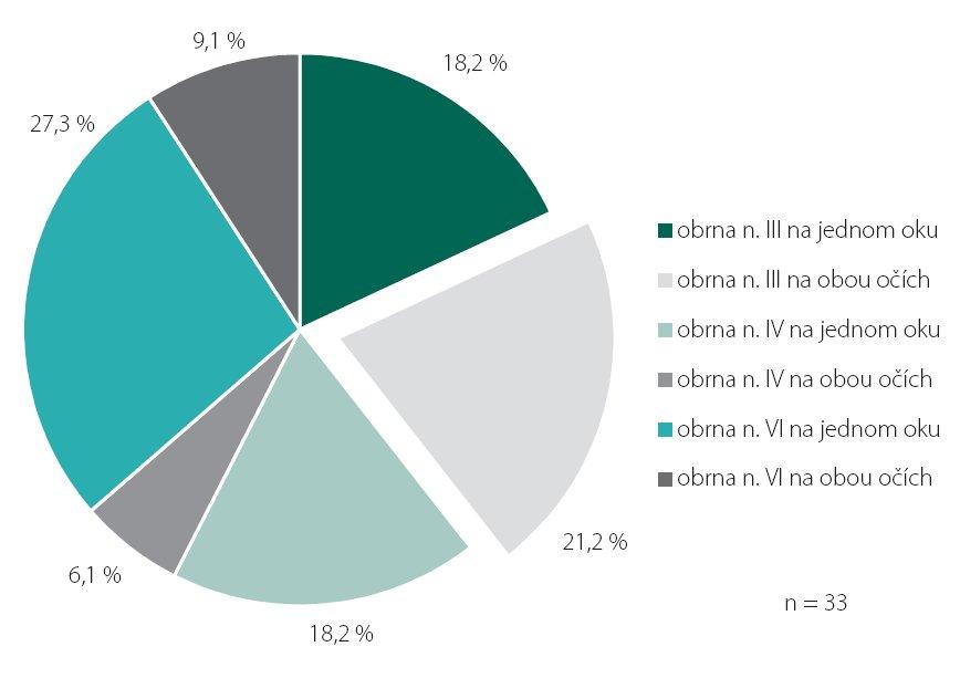 Procentuální zastoupení jednotlivých typů paréz a jejich kombinace ve studijní skupině.