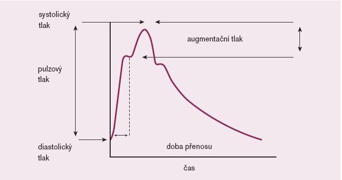 Schéma 4. Pulzová vlna při neinvazivním záznamu a hodnocené ukazatele.