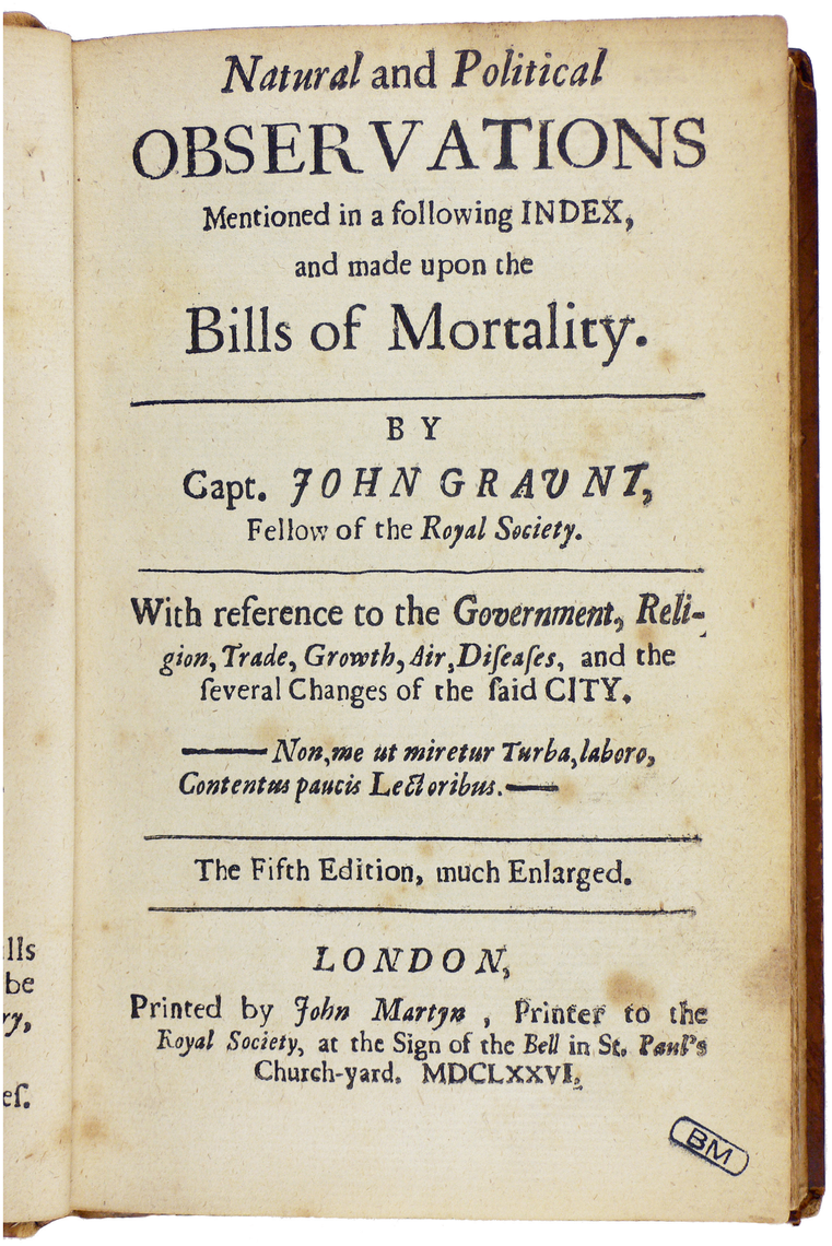 """Bills of Mortality"" for London, published by John Graunt in 1676."