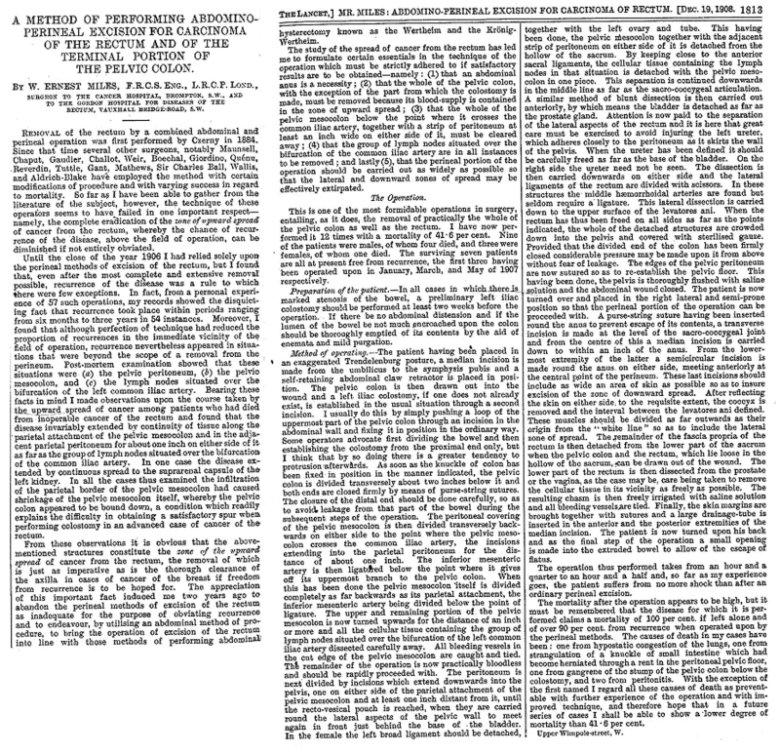 Titulní strana historické publikace v časopisu Lancet, 1908 Fig. 3. Title page of historic publication in Lancet, 1908