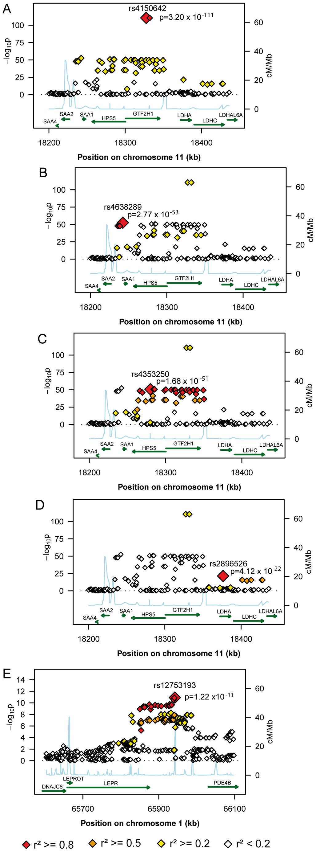 Regional plots of the genetic susceptibility regions/subregions.