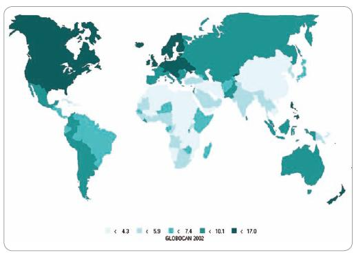 Incidencia karcinómu ovária vo svete.