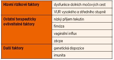 Rizikové faktory recidivujících IMC.
