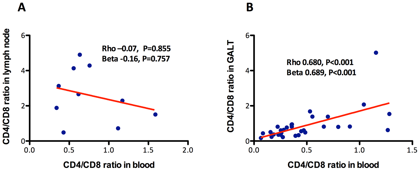 Association between the CD4/CD8 ratio in blood and in lymph nodes or in GALT.
