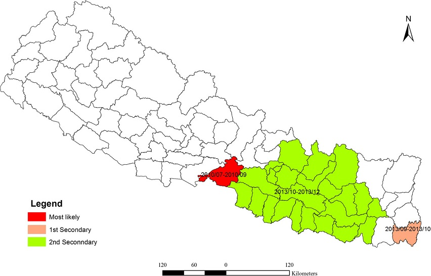 Distribution of spatiotemporal clusters of dengue fever in Nepal (2010–2014)