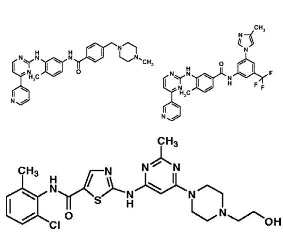 Porovnání chemické struktury imatinibu, dasatinibu a nilotinibu.