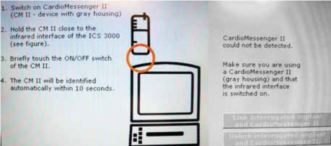 """Testovací spojení CardioMessengeru a implantátu pomocí programovacího zařízení. Pro testovací účely je možné """"spárovat"""" nainterogovaný implantát s CardioMessengerem CM-II."""