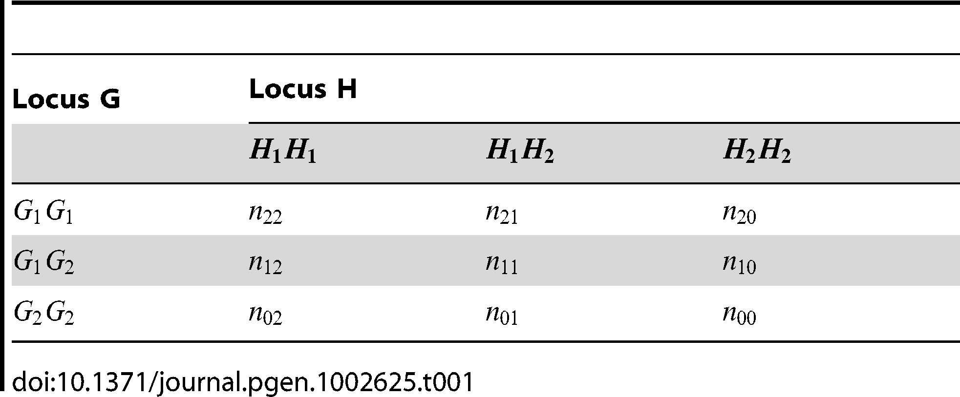 Multilocus genotype counts at two SNPs in a set of genotyped individuals.
