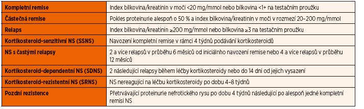 Definice pojmů používaných při klasifikaci a léčbě nefrotického syndromu.