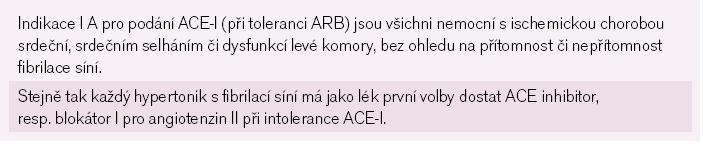 Shrnutí: použití ACE-I/ARB pro upstream léčbu.