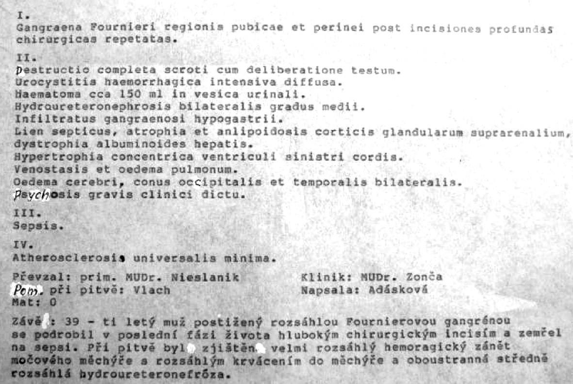 Závěr pitevního protokolu Pic. 2. The result of postmortem record