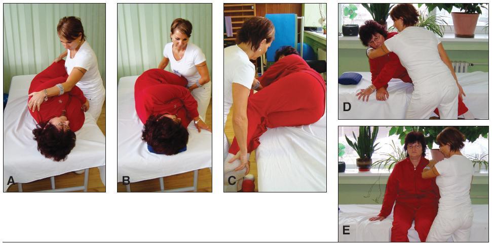 Presun pacienta špirálovitým pohybom z ľahu do sedu.
