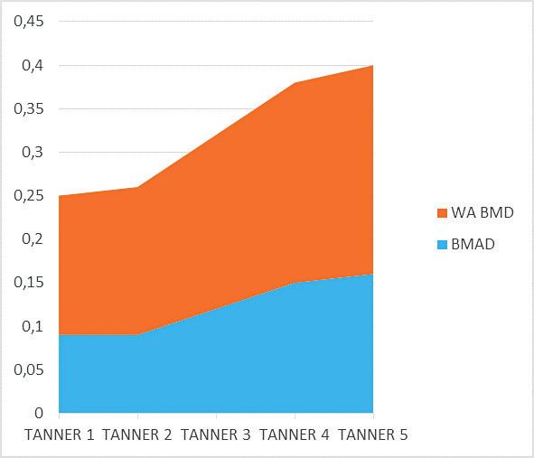 Nárast objemových DXA parametrov v polovici puberty (analyzovaný súbor s JIA), relatívne vyššie tempo nárastu WA BMD.