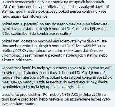 Doporučení pro hypolipidemickou léčbu u pacientů s akutními koronárními syndromy a u pacientů podstupujících perkutánní koronární intervence