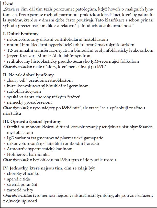 Tab. 1. Higbyho klasifikace maligních lymfomů z roku 1979.