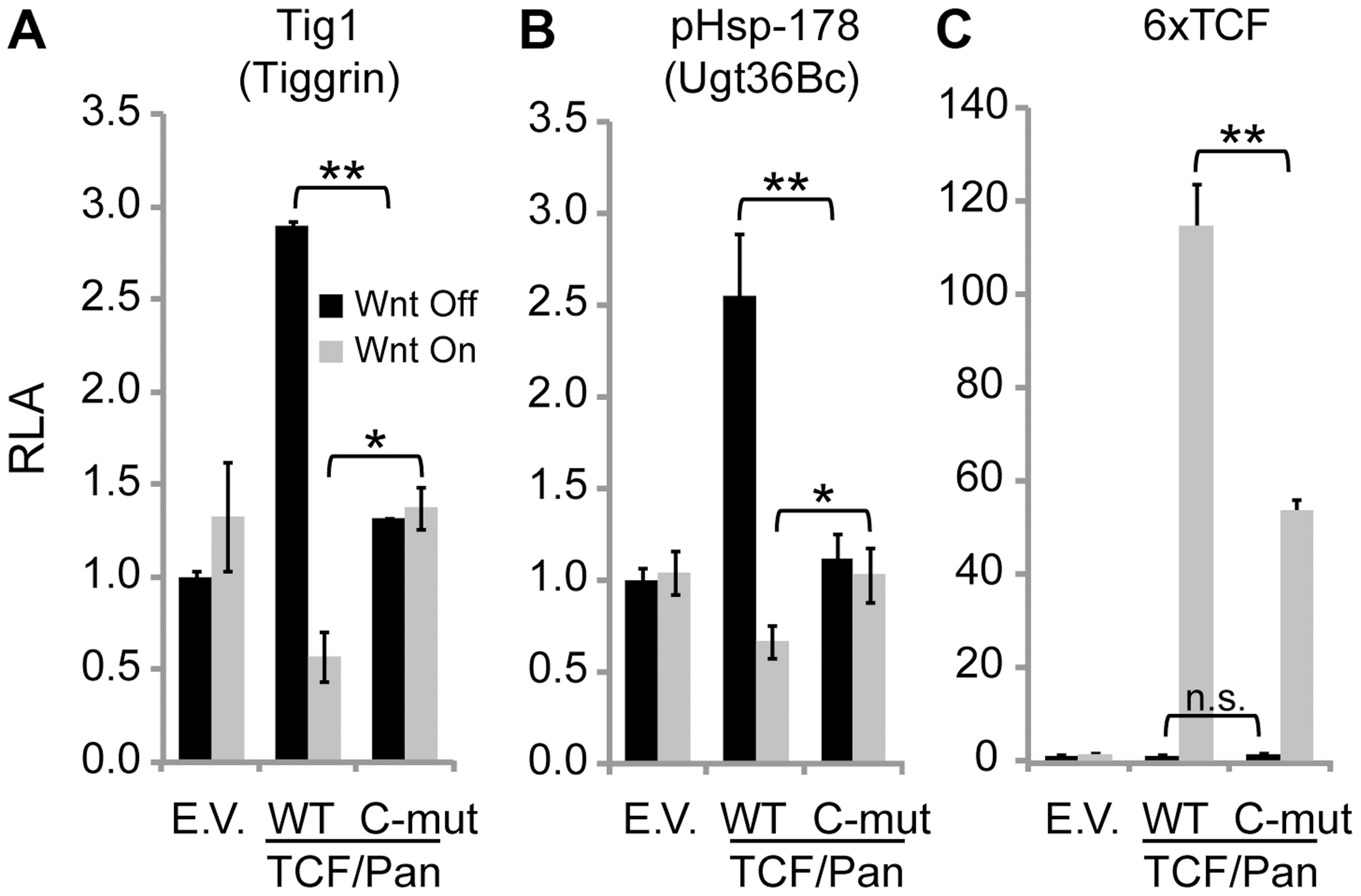 The C-clamp domain of TCF/Pan is required for Wnt-mediated repression of <i>Tig</i> and <i>Ugt36Bc</i> W-CRMs.