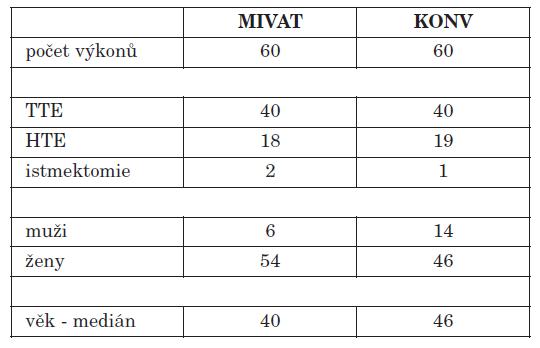 Analyzovaný soubor - přehled provedených výkonů.