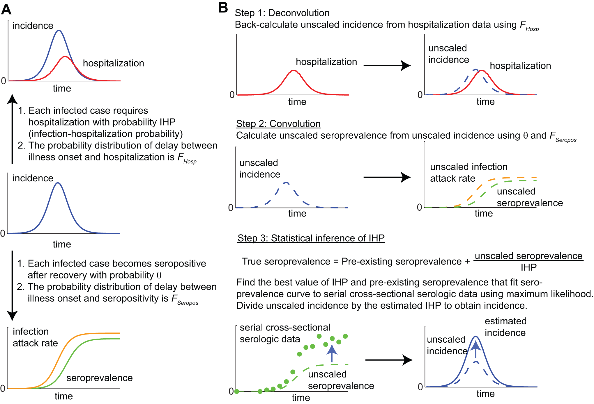 A schematic of the convolution-based method for real-time estimation of IHP and IAR from hospitalization and serial cross-sectional serologic data.