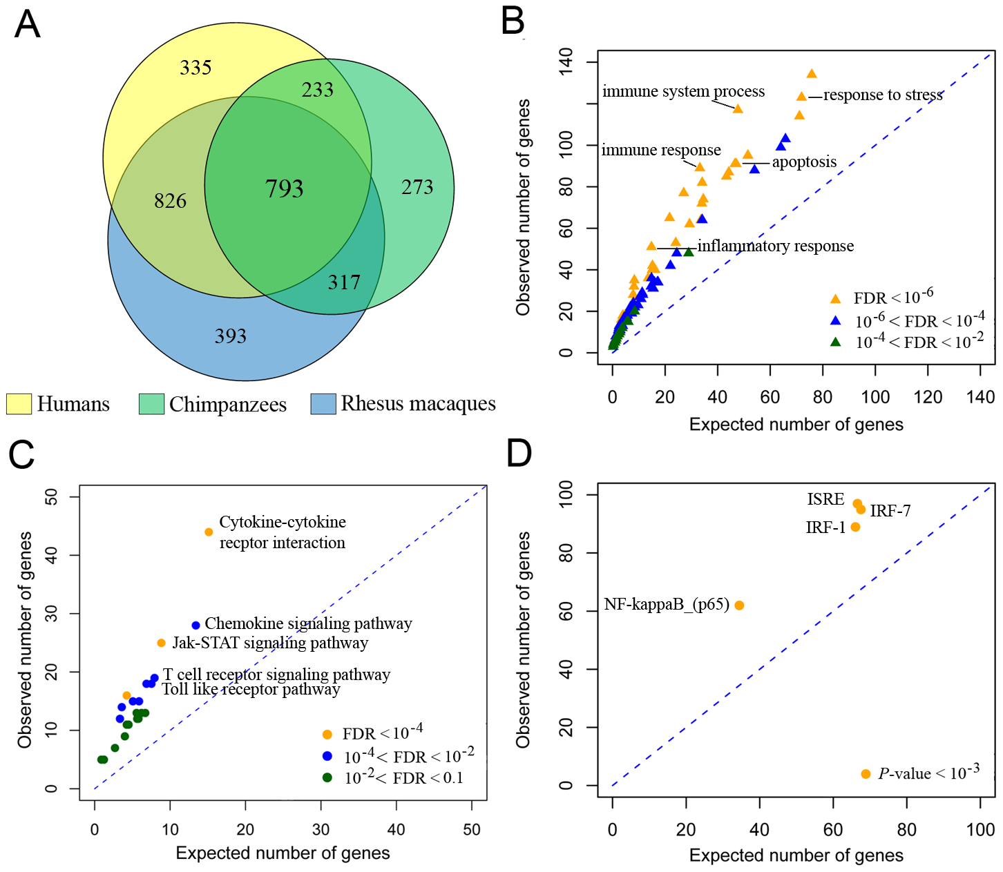 LPS-mediated innate immune response to infection in humans, chimpanzees, and rhesus macaques.