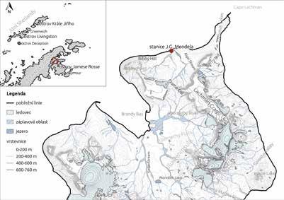 Mapa Antarktický poloostrov + severní část ostrova Jamese Rosse