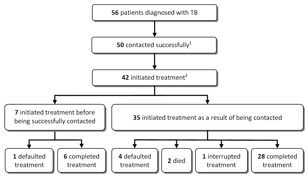 Losses between tuberculosis diagnosis to treatment completion.