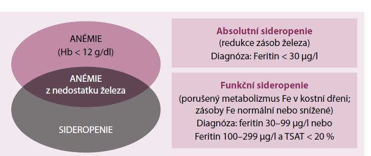 Vztah mezi anemií a sideropenií.