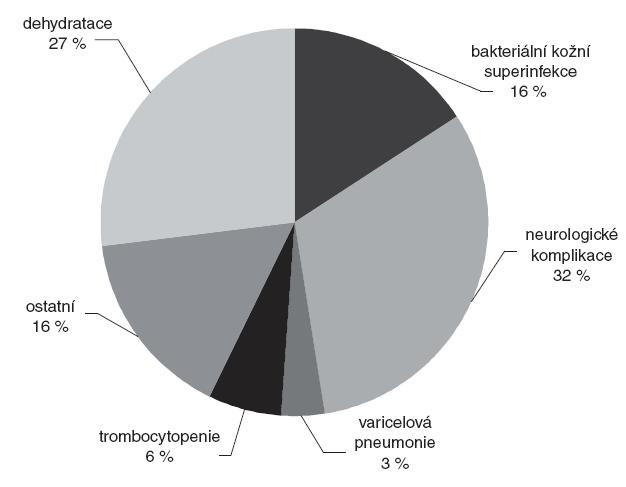 Zastoupení komplikací u dětí s varicelou v letech 2001–2008 (n = 82).