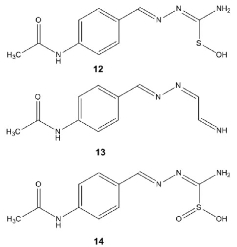 Fig. 6. Structures of TAZ-sulfenic acid (12), TAZ-carbodiimide (13) and TAZ-sulfinic acid (14)