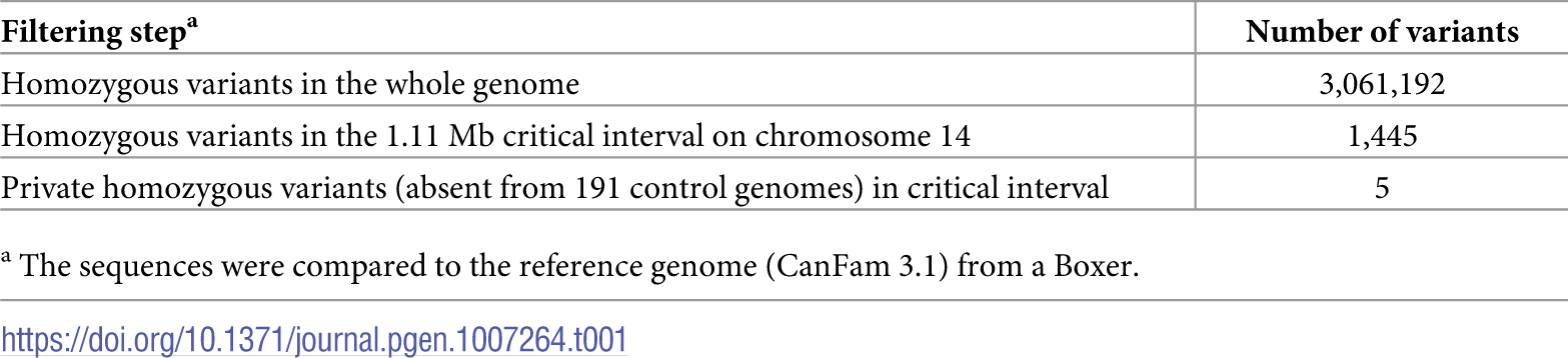 Variants detected by whole genome re-sequencing of an LAD affected dog.