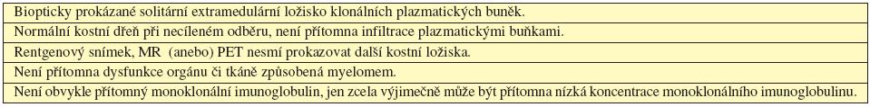 Kritéria solitárního mimokostního plazmocytomu (International Myeloma Working Group, 2003).