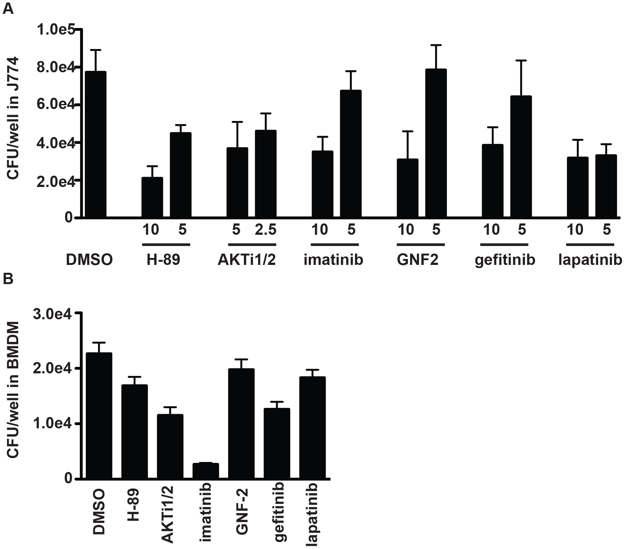 Inhibitors of protein kinases impair mycobacterial growth in macrophages.