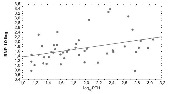 Korelácia medzi log10BNP a log10 i-PTH