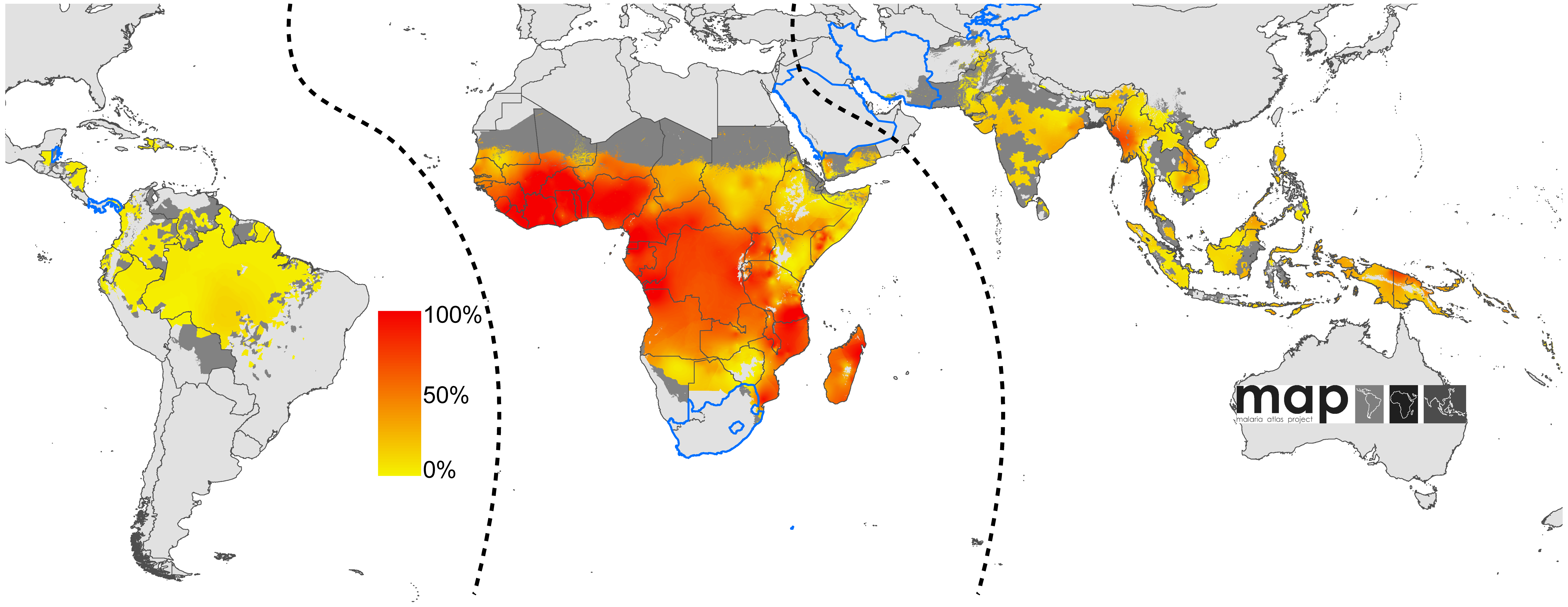 Global limits and endemicity of <i>P. falciparum</i> in 2007.
